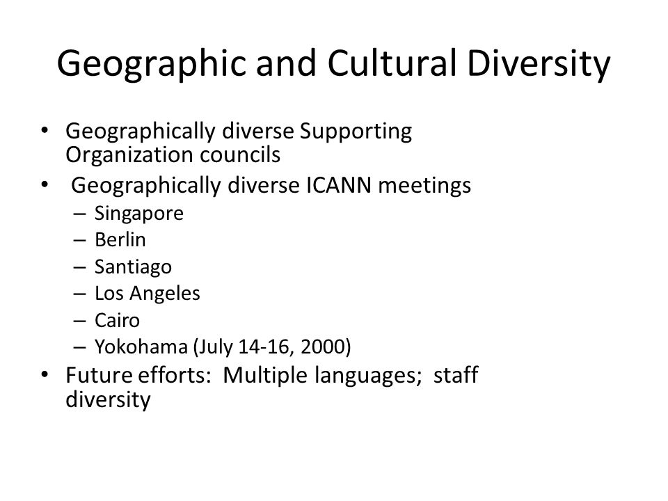 Geographic and Cultural Diversity Geographically diverse Supporting Organization councils Geographically diverse ICANN meetings – Singapore – Berlin – Santiago – Los Angeles – Cairo – Yokohama (July 14-16, 2000) Future efforts: Multiple languages; staff diversity