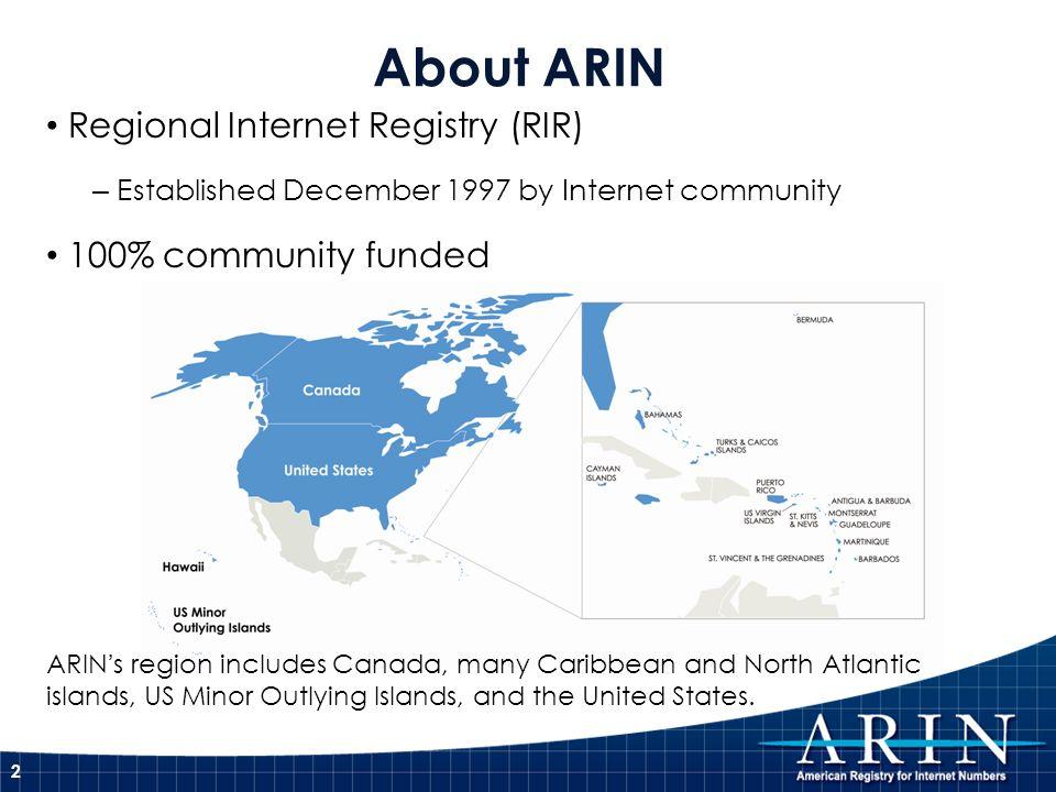 About ARIN Regional Internet Registry (RIR) – Established December 1997 by Internet community 100% community funded ARINs region includes Canada, many