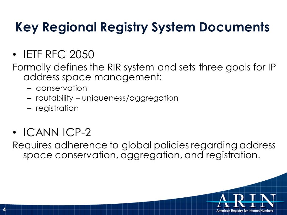 IETF RFC 2050 Formally defines the RIR system and sets three goals for IP address space management: – conservation – routability – uniqueness/aggregat