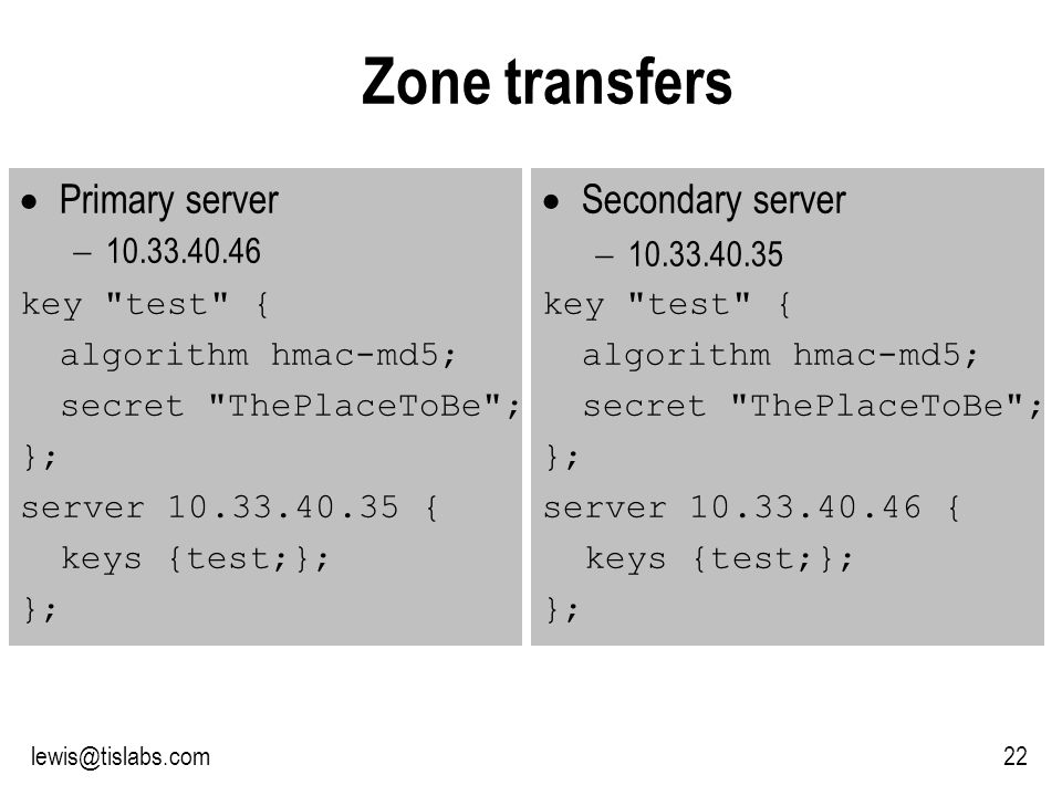 Slide 22 P R O T E C T I N G Y O U R P R I V A C Y 22lewis@tislabs.com Zone transfers Primary server 10.33.40.46 key test { algorithm hmac-md5; secret ThePlaceToBe ; }; server 10.33.40.35 { keys {test;}; }; Secondary server 10.33.40.35 key test { algorithm hmac-md5; secret ThePlaceToBe ; }; server 10.33.40.46 { keys {test;}; };