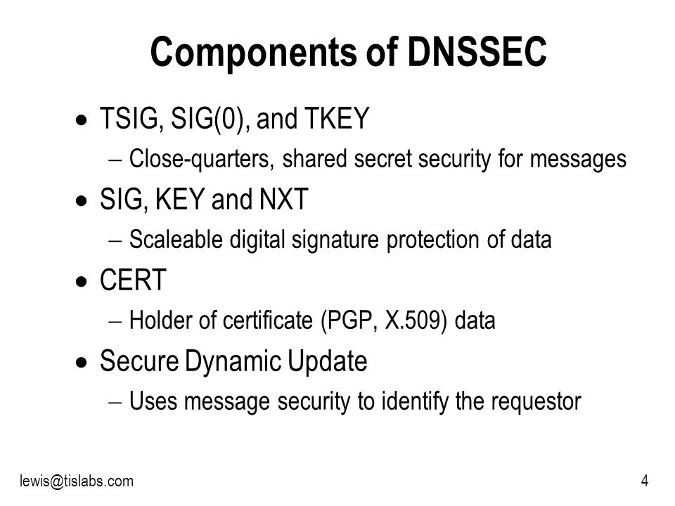 Slide 35 P R O T E C T I N G Y O U R P R I V A C Y 35lewis@tislabs.com The Complicated Features The SIG, KEY, and NXT records How they impact zone files and queries Tools available to manipulate the records