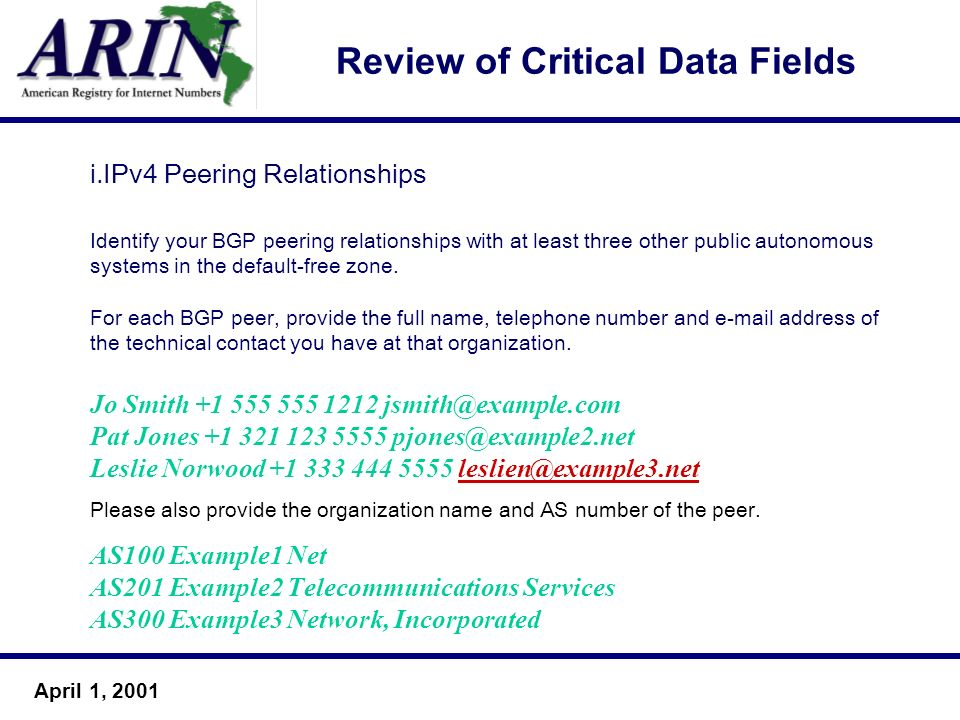 April 1, 2001 Review of Critical Data Fields i.IPv4 Peering Relationships Identify your BGP peering relationships with at least three other public aut