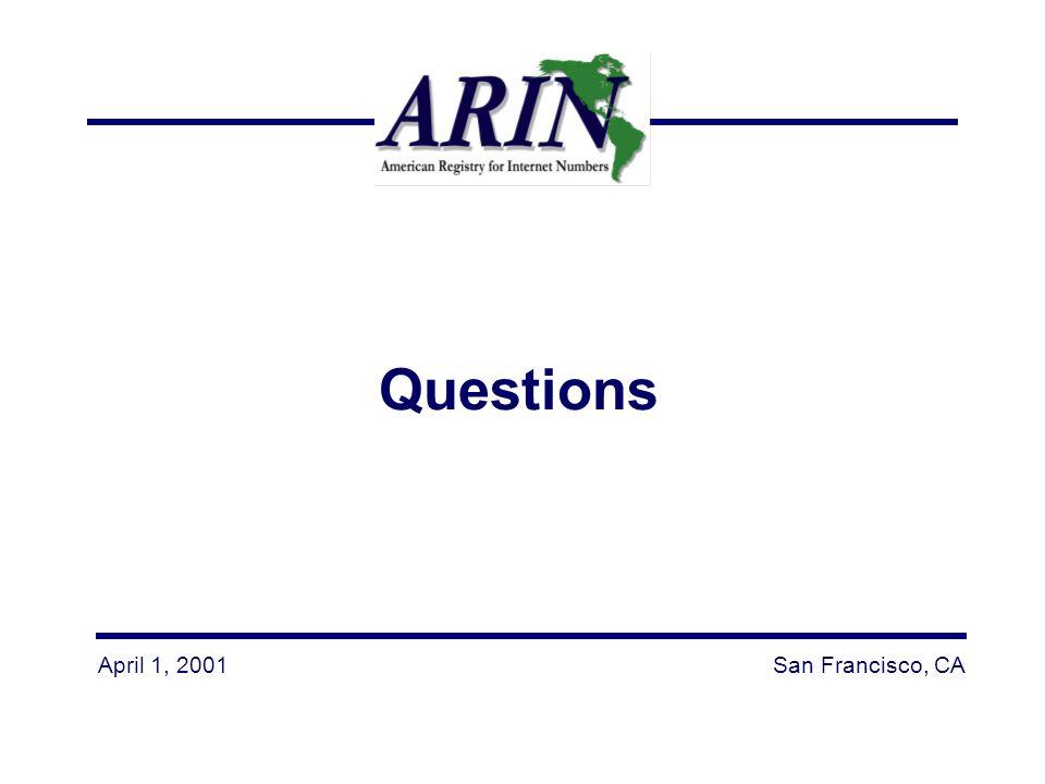 April 1, 2001San Francisco, CA Questions