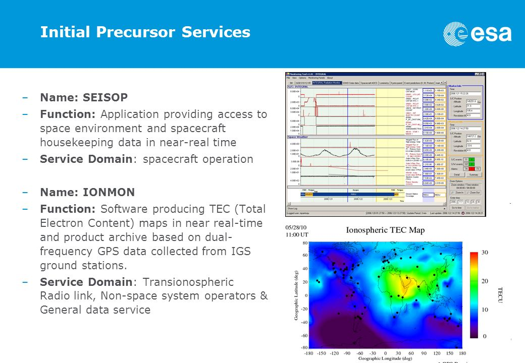 Initial Precursor Services –Name: SEISOP –Function: Application providing access to space environment and spacecraft housekeeping data in near-real time –Service Domain: spacecraft operation –Name: IONMON –Function: Software producing TEC (Total Electron Content) maps in near real-time and product archive based on dual- frequency GPS data collected from IGS ground stations.