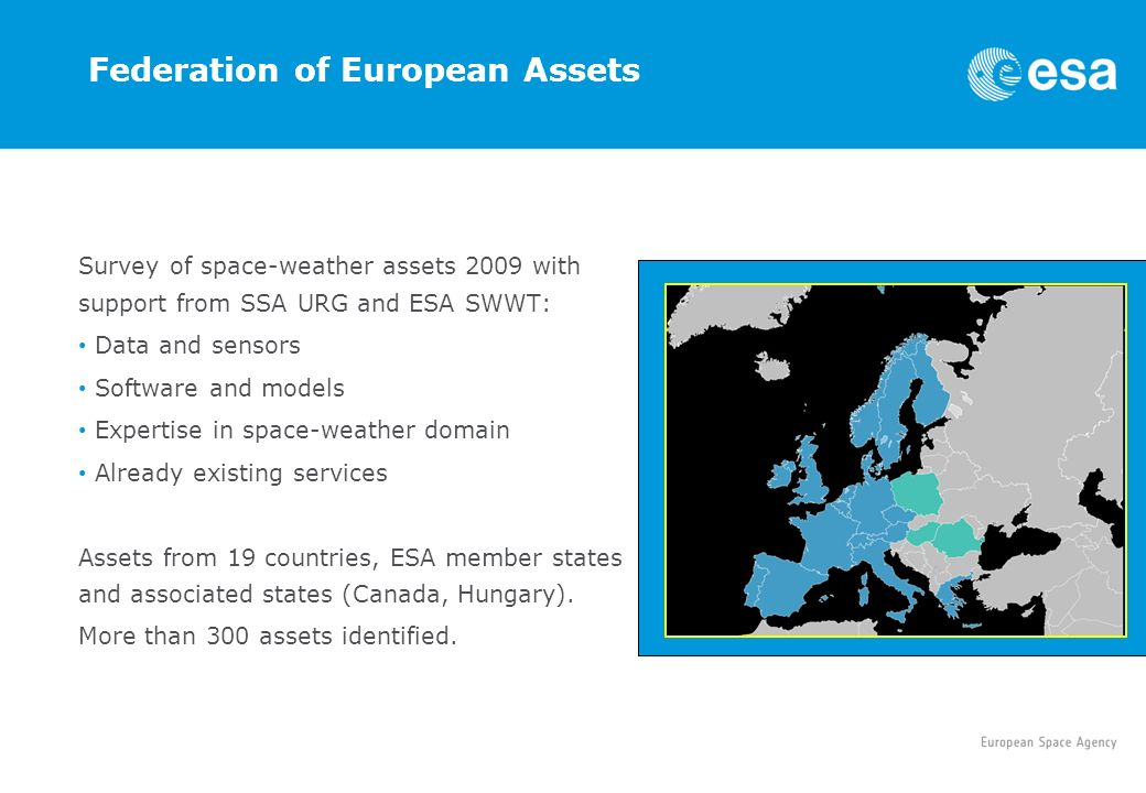 Federation of European Assets Survey of space-weather assets 2009 with support from SSA URG and ESA SWWT: Data and sensors Software and models Expertise in space-weather domain Already existing services Assets from 19 countries, ESA member states and associated states (Canada, Hungary).