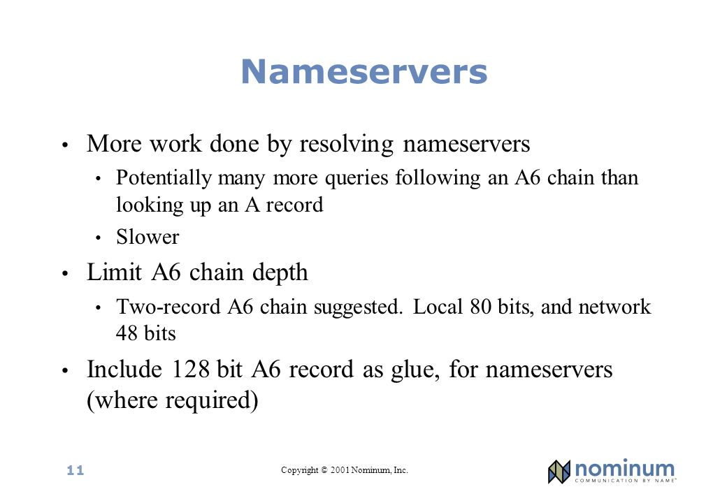 Copyright © 2001 Nominum, Inc. 11 Nameservers More work done by resolving nameservers Potentially many more queries following an A6 chain than looking