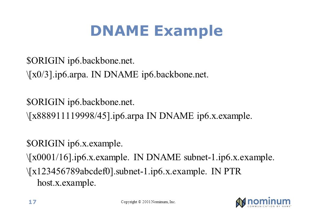 Copyright © 2001 Nominum, Inc. 17 DNAME Example $ORIGIN ip6.backbone.net. \[x0/3].ip6.arpa. IN DNAME ip6.backbone.net. $ORIGIN ip6.backbone.net. \[x88