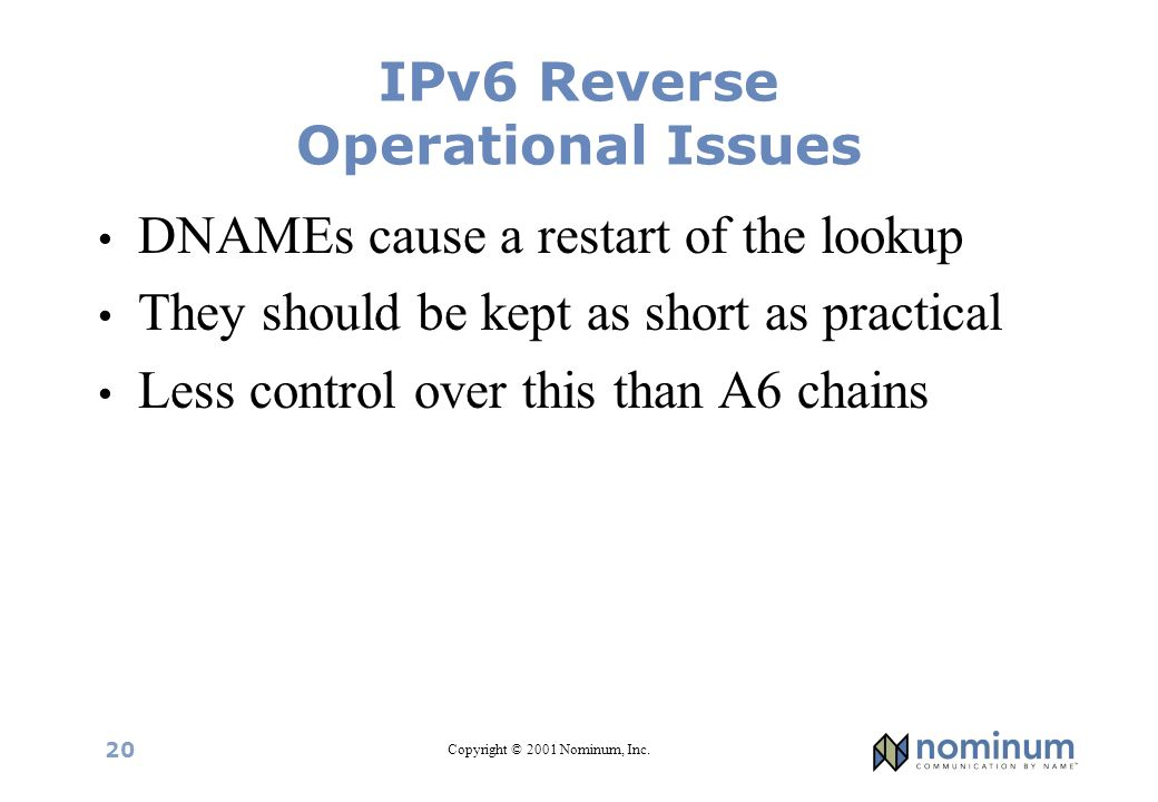 Copyright © 2001 Nominum, Inc. 20 IPv6 Reverse Operational Issues DNAMEs cause a restart of the lookup They should be kept as short as practical Less