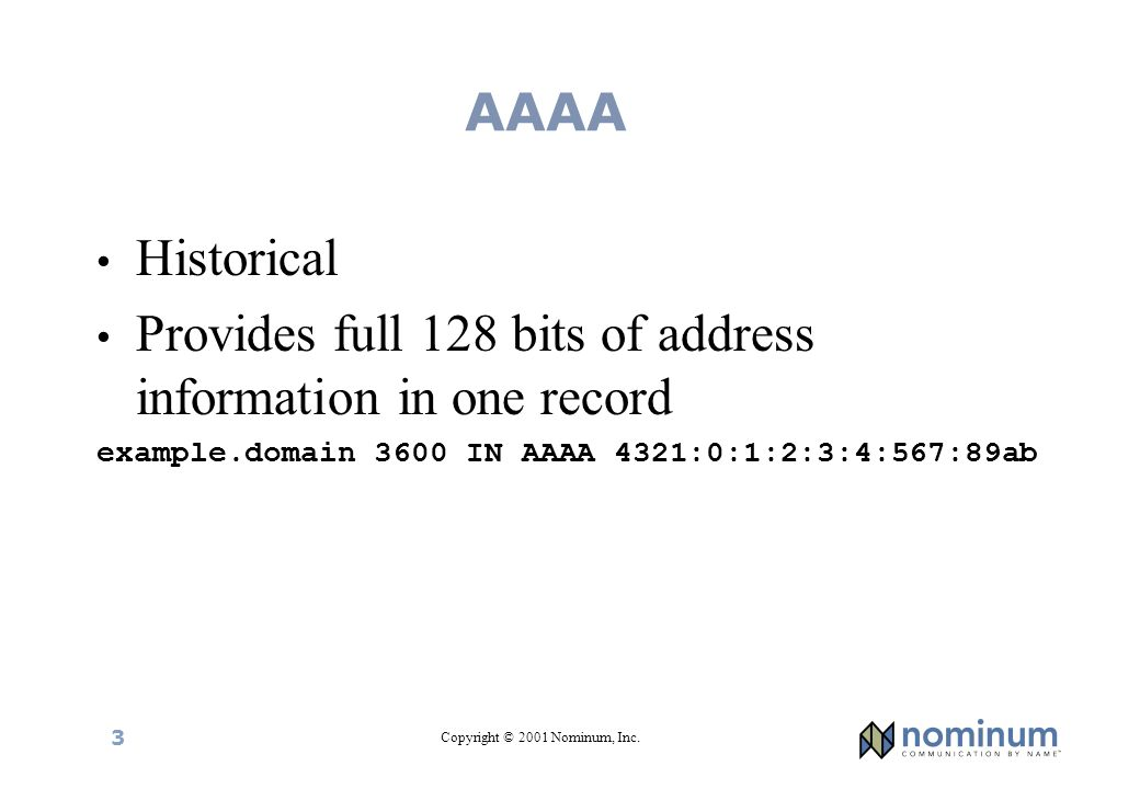 Copyright © 2001 Nominum, Inc. 3 AAAA Historical Provides full 128 bits of address information in one record example.domain 3600 IN AAAA 4321:0:1:2:3: