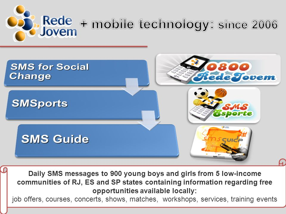 Daily SMS messages to 900 young boys and girls from 5 low-income communities of RJ, ES and SP states containing information regarding free opportunities available locally: job offers, courses, concerts, shows, matches, workshops, services, training events
