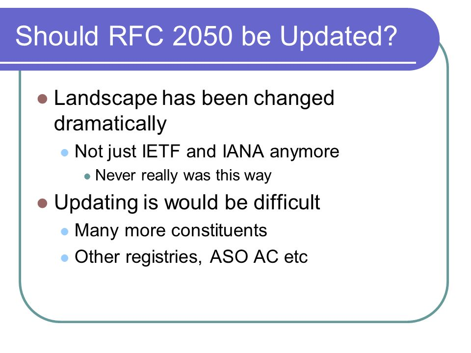 Should RFC 2050 be Updated.