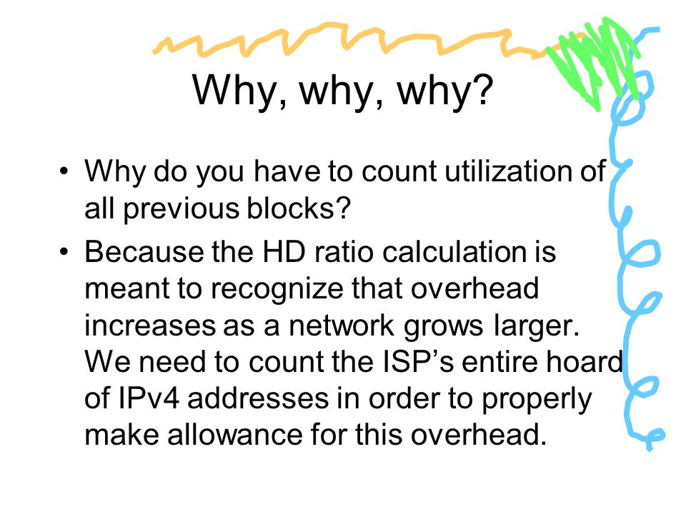 Why, why, why? Why do you have to count utilization of all previous blocks? Because the HD ratio calculation is meant to recognize that overhead incre