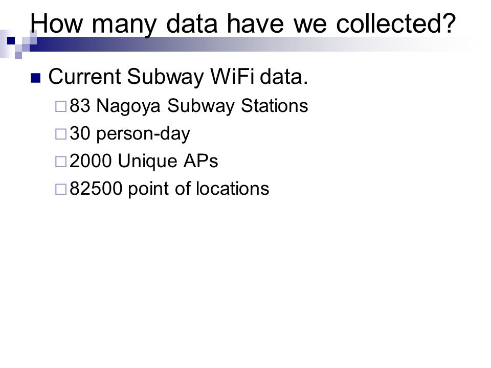 How many data have we collected? Current Subway WiFi data. 83 Nagoya Subway Stations 30 person-day 2000 Unique APs 82500 point of locations