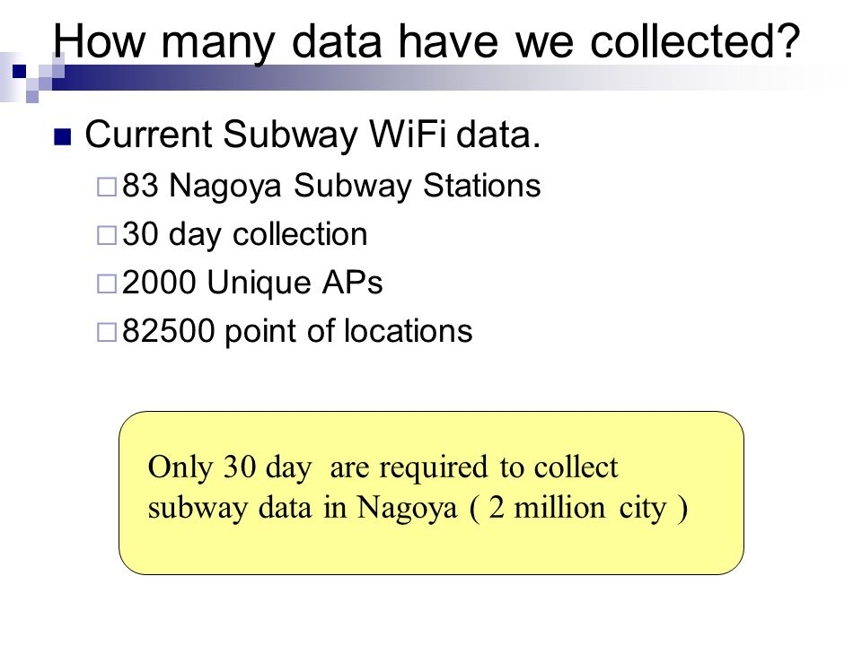How many data have we collected? Current Subway WiFi data. 83 Nagoya Subway Stations 30 day collection 2000 Unique APs 82500 point of locations Only 3