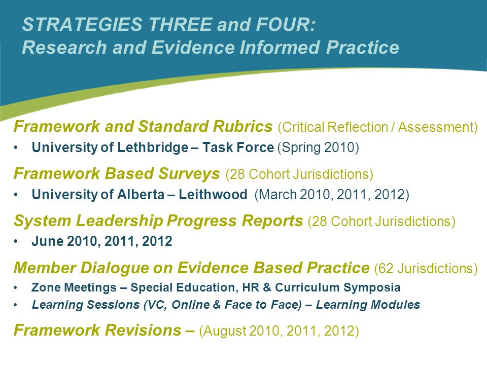 STRATEGIES THREE and FOUR: Research and Evidence Informed Practice Framework and Standard Rubrics (Critical Reflection / Assessment) University of Lethbridge – Task Force (Spring 2010) Framework Based Surveys (28 Cohort Jurisdictions) University of Alberta – Leithwood (March 2010, 2011, 2012) System Leadership Progress Reports (28 Cohort Jurisdictions) June 2010, 2011, 2012 Member Dialogue on Evidence Based Practice (62 Jurisdictions) Zone Meetings – Special Education, HR & Curriculum Symposia Learning Sessions (VC, Online & Face to Face) – Learning Modules Framework Revisions – (August 2010, 2011, 2012)