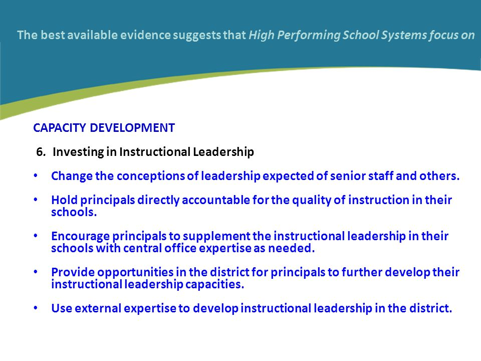 The best available evidence suggests that High Performing School Systems focus on CAPACITY DEVELOPMENT 6.