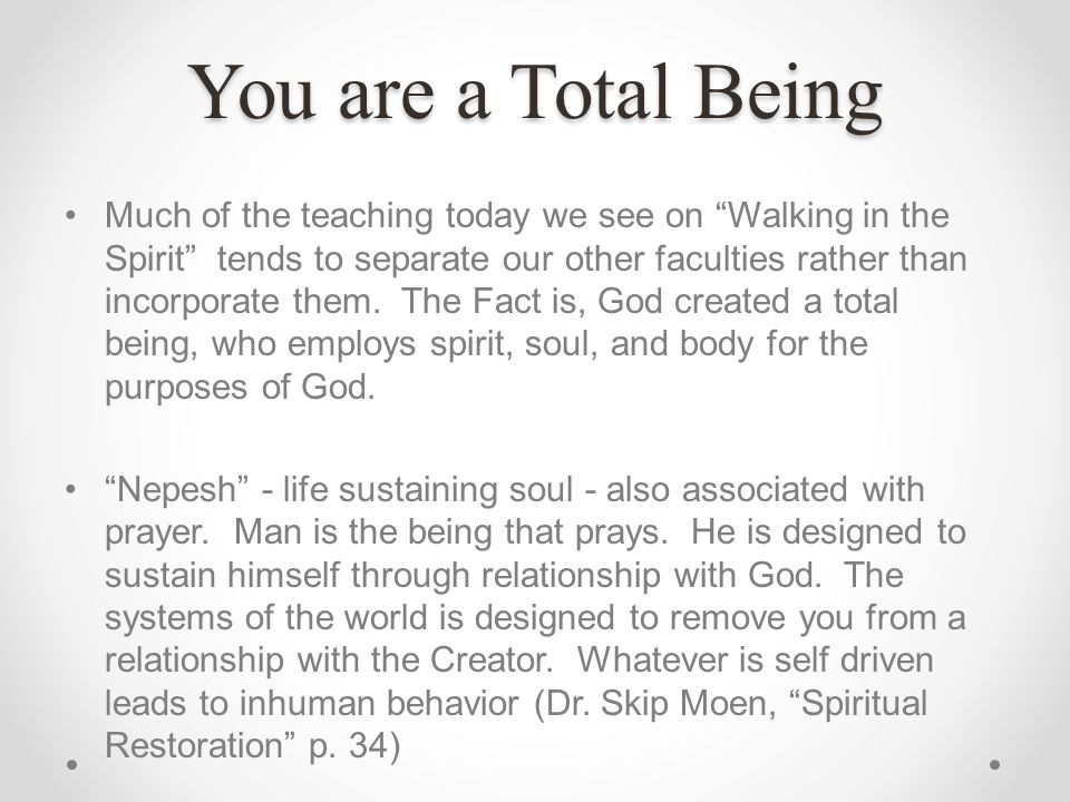 You are a Total Being Much of the teaching today we see on Walking in the Spirit tends to separate our other faculties rather than incorporate them. T