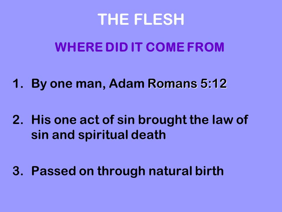 THE FLESH WHERE DID IT COME FROM Romans 5:12 1.By one man, Adam Romans 5:12 2.His one act of sin brought the law of sin and spiritual death 3.Passed o