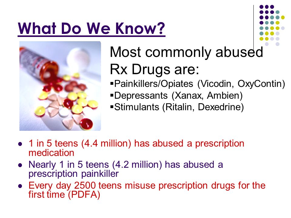 National Statistics For the first time, there are just as many new abusers (12 and older) of prescription drugs as there are for marijuana.