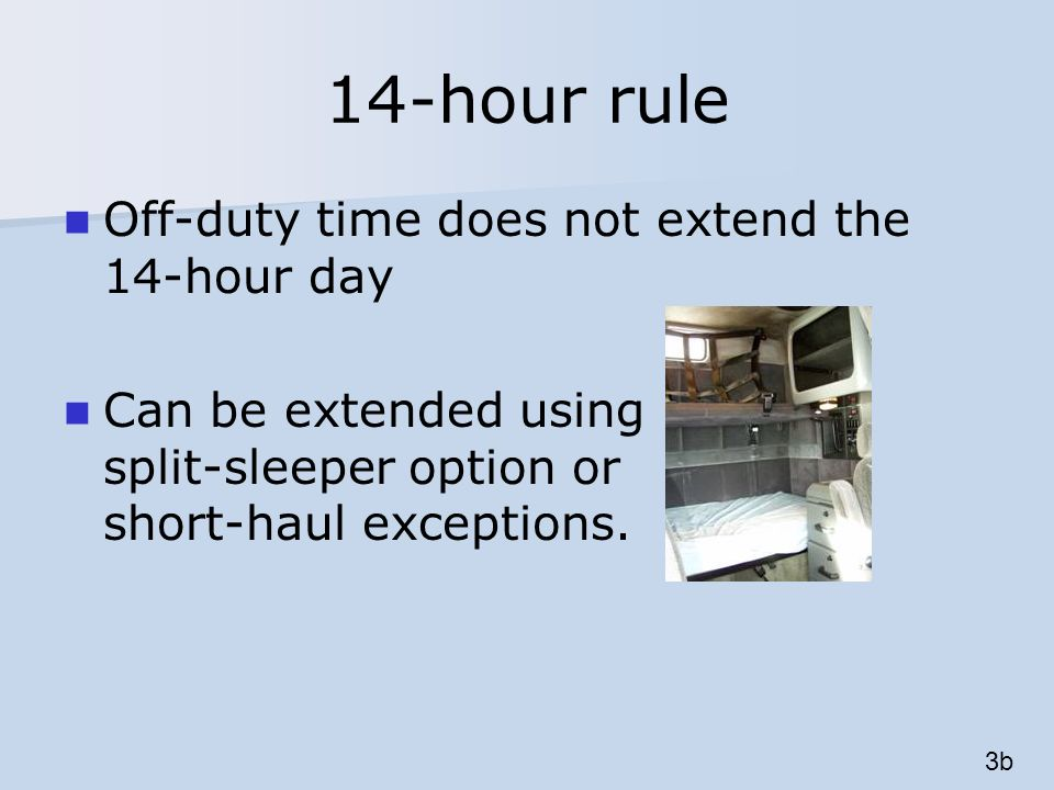 On-duty time Performing any compensated work for any non-motor carrier entity 5h