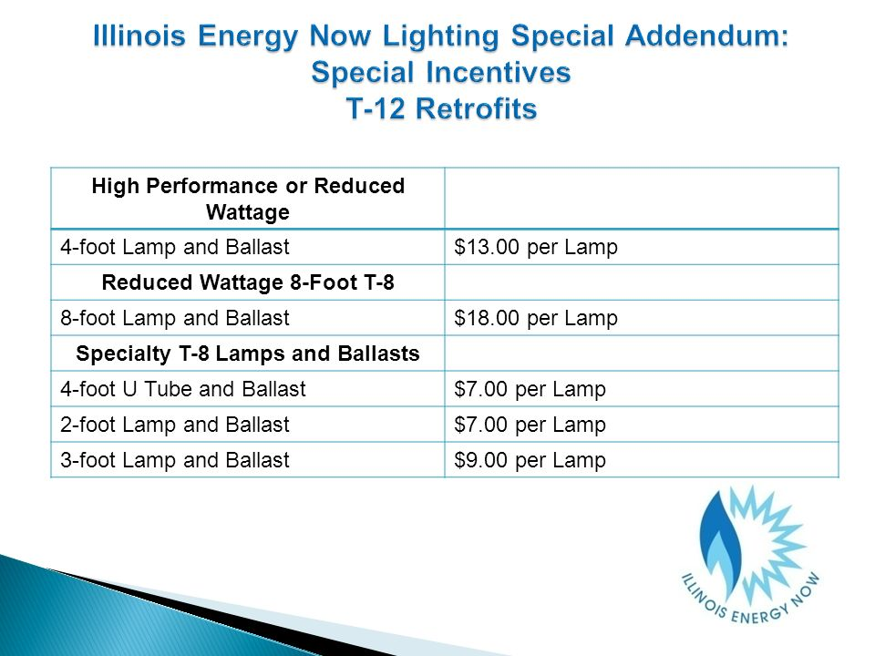 High Performance or Reduced Wattage 4-foot Lamp and Ballast$13.00 per Lamp Reduced Wattage 8-Foot T-8 8-foot Lamp and Ballast$18.00 per Lamp Specialty