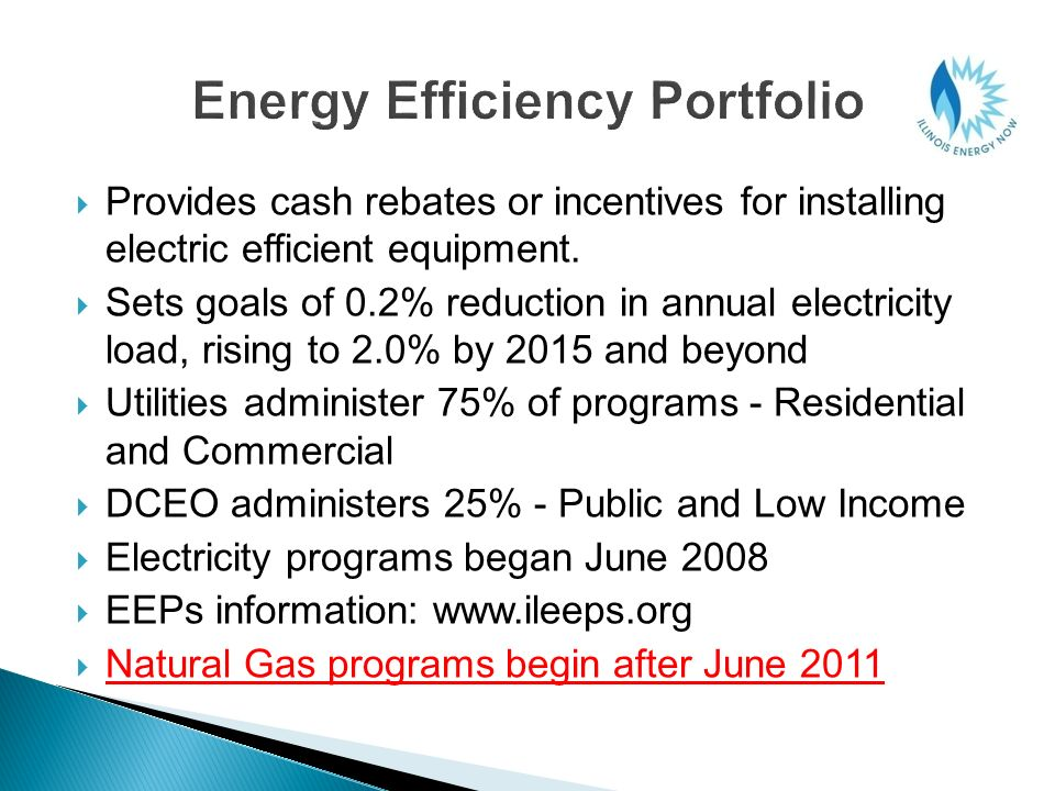 Provides cash rebates or incentives for installing electric efficient equipment. Sets goals of 0.2% reduction in annual electricity load, rising to 2.