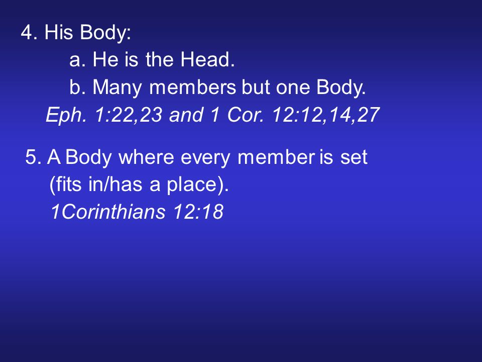 4. His Body: a. He is the Head. b. Many members but one Body.