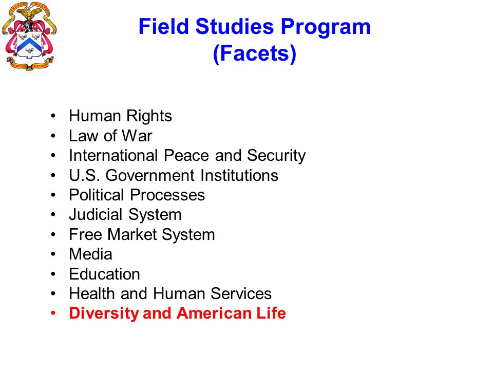 Field Studies Program (Facets) Human Rights Law of War International Peace and Security U.S. Government Institutions Political Processes Judicial Syst
