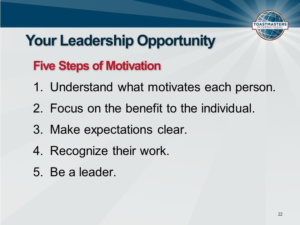 22 Your Leadership Opportunity Five Steps of Motivation 1.Understand what motivates each person. 2.Focus on the benefit to the individual. 3.Make expe