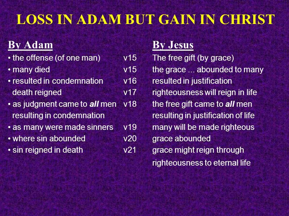 LOSS IN ADAM BUT GAIN IN CHRIST By AdamBy Jesus the offense (of one man)v15 The free gift (by grace) many died v15the grace... abounded to many result