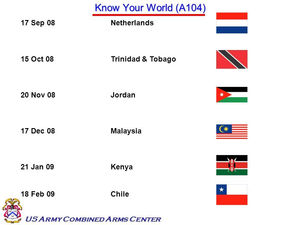 US Army Combined Arms Center Know Your World (A104) 17 Sep 08Netherlands 15 Oct 08Trinidad & Tobago 20 Nov 08Jordan 17 Dec 08Malaysia 21 Jan 09Kenya 1