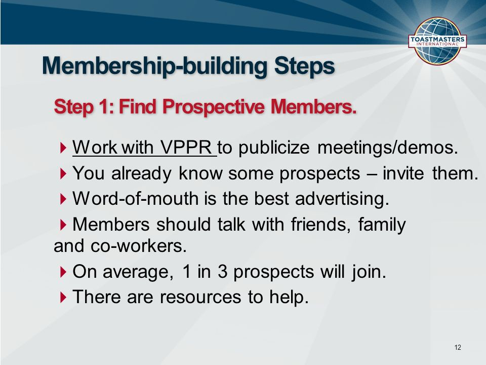 Work with VPPR to publicize meetings/demos. You already know some prospects – invite them.