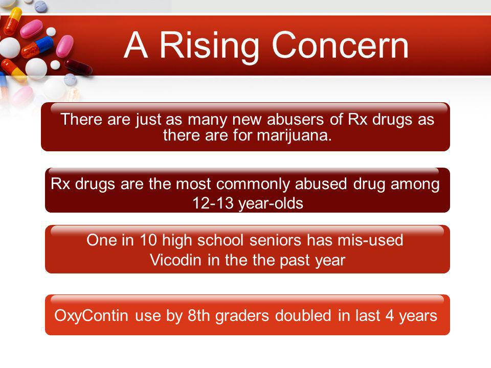 A Rising Concern There are just as many new abusers of Rx drugs as there are for marijuana.