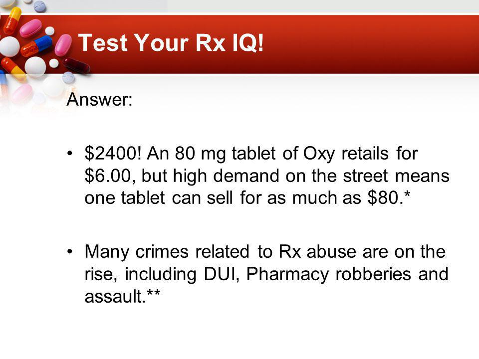 Test Your Rx IQ. Answer: $2400.
