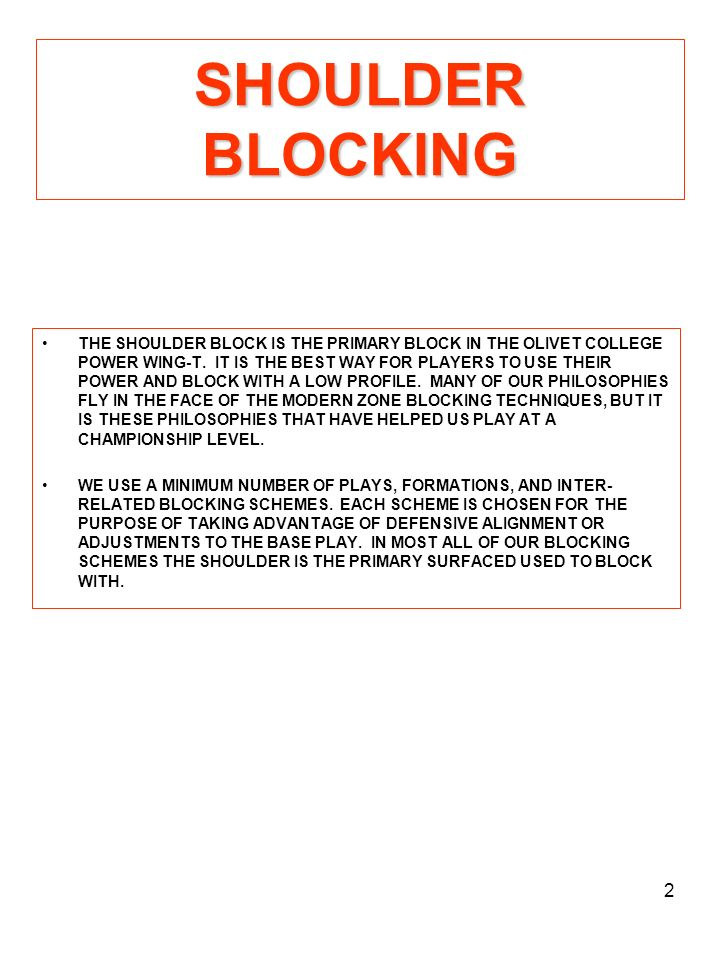 13 DRIVE BLOCK DRILL 1.OBJECTIVES: A.