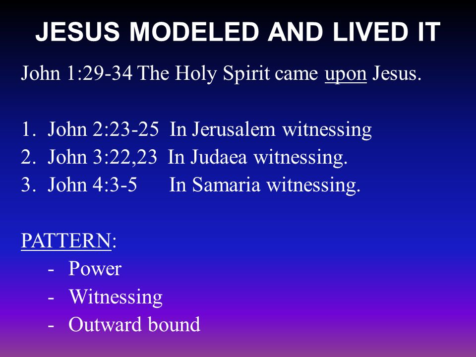 JESUS MODELED AND LIVED IT John 1:29-34 The Holy Spirit came upon Jesus.