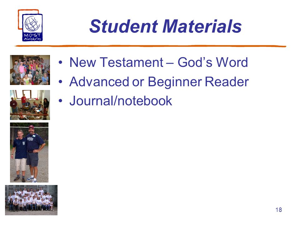 18 Student Materials New Testament – Gods Word Advanced or Beginner Reader Journal/notebook