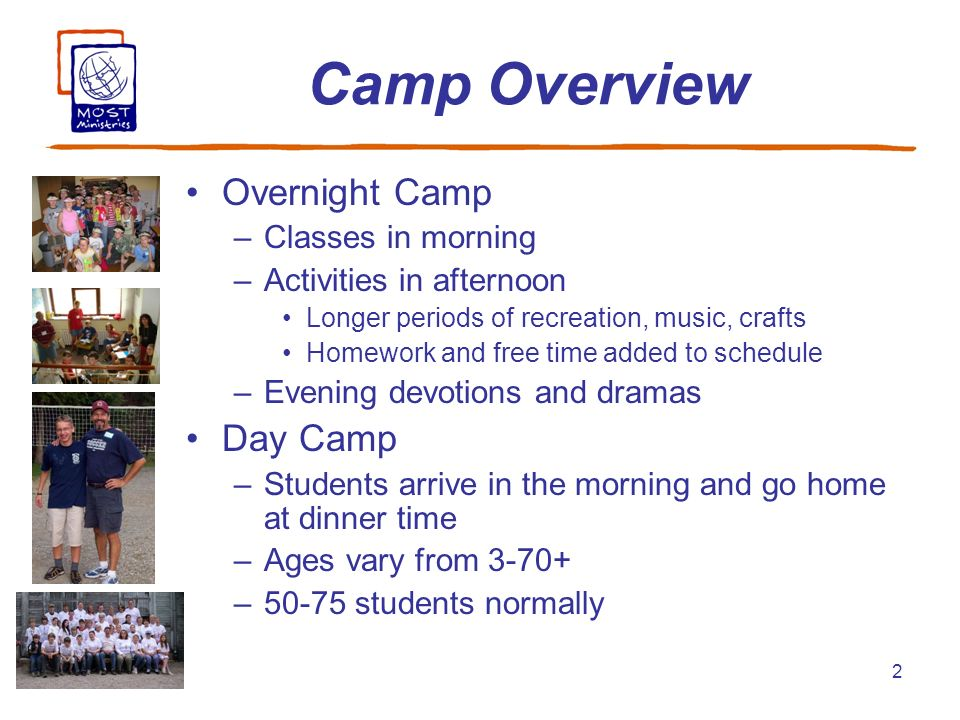2 Camp Overview Overnight Camp –Classes in morning –Activities in afternoon Longer periods of recreation, music, crafts Homework and free time added t