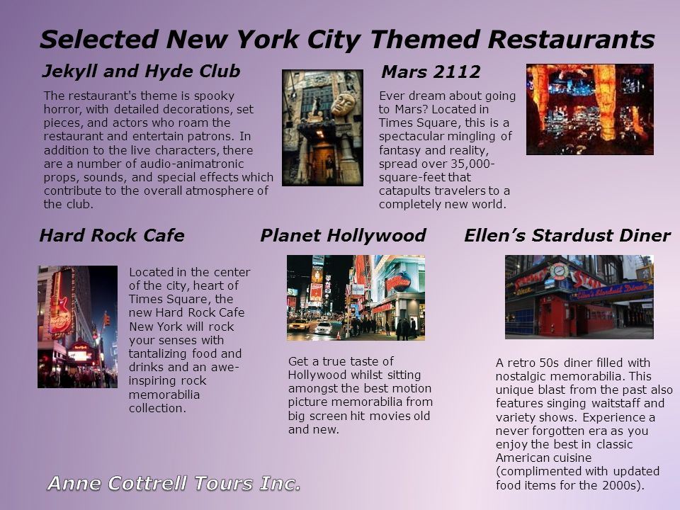 Selected New York City Themed Restaurants Jekyll and Hyde Club The restaurant's theme is spooky horror, with detailed decorations, set pieces, and act