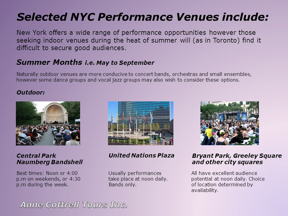 Selected NYC Performance Venues include: Best times: Noon or 4:00 p.m on weekends, or 4:30 p.m during the week. All have excellent audience potential