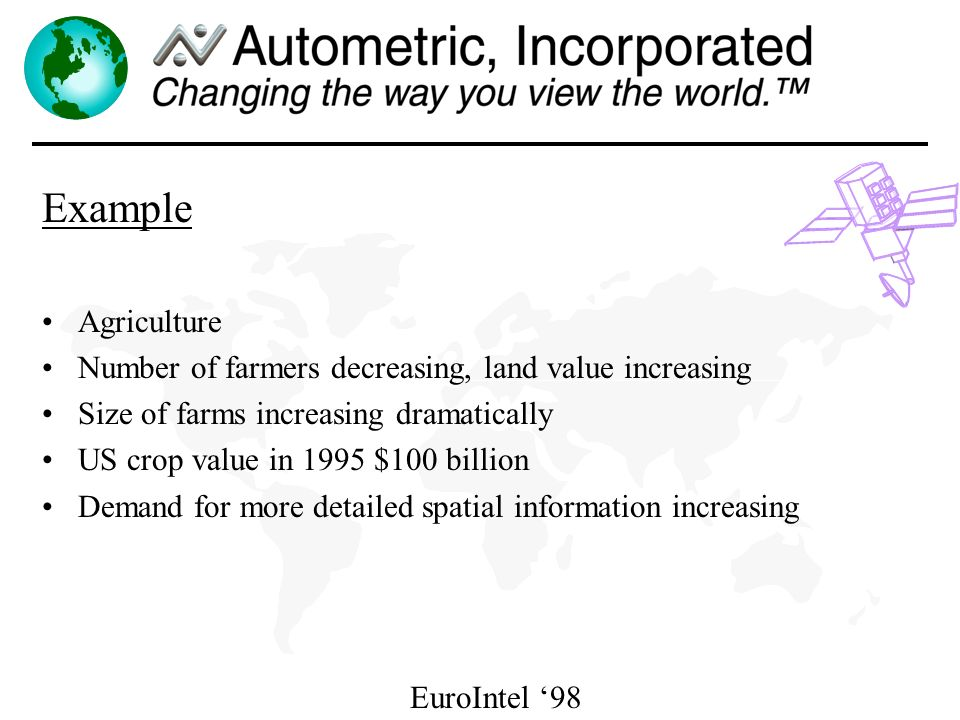 EuroIntel 98 Example Agriculture Number of farmers decreasing, land value increasing Size of farms increasing dramatically US crop value in 1995 $100 billion Demand for more detailed spatial information increasing