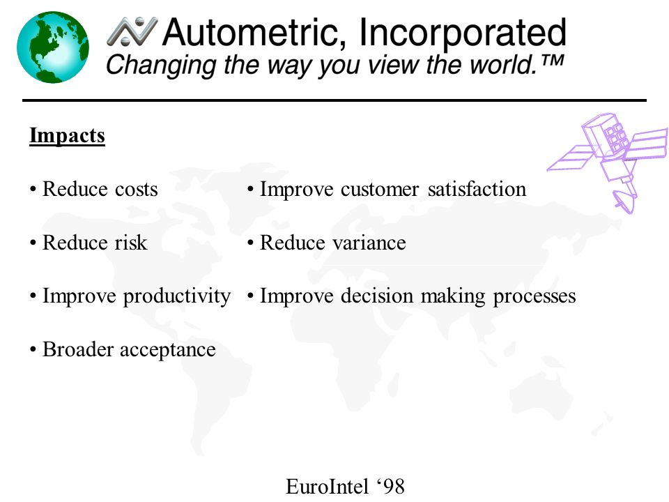 EuroIntel 98 Impacts Reduce costs Reduce risk Improve productivity Broader acceptance Improve customer satisfaction Reduce variance Improve decision making processes
