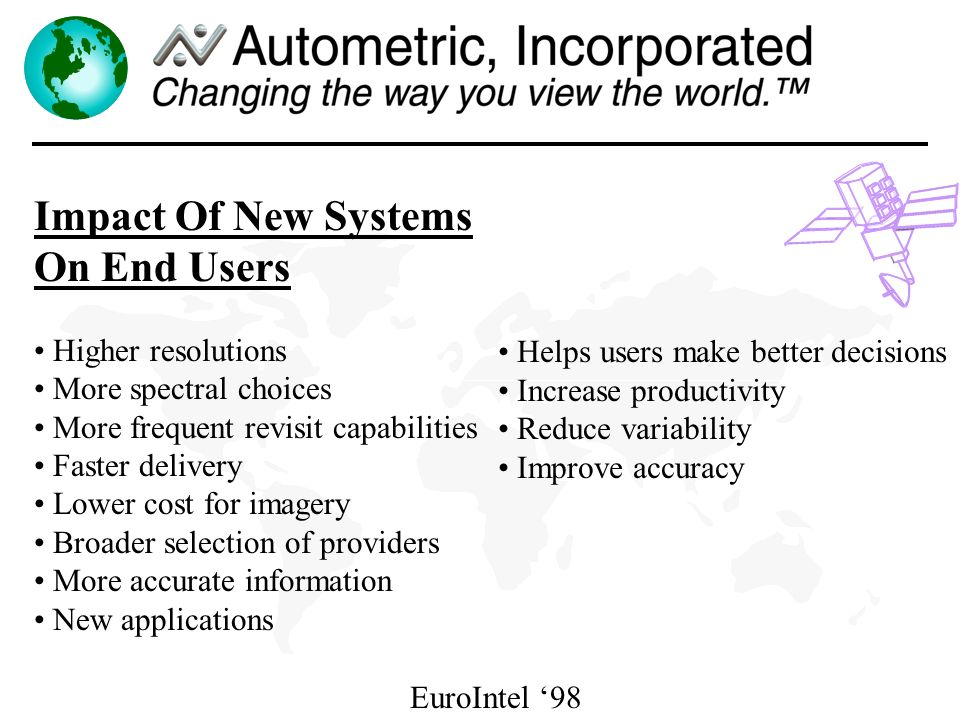 EuroIntel 98 Impact Of New Systems On End Users Higher resolutions More spectral choices More frequent revisit capabilities Faster delivery Lower cost for imagery Broader selection of providers More accurate information New applications Helps users make better decisions Increase productivity Reduce variability Improve accuracy