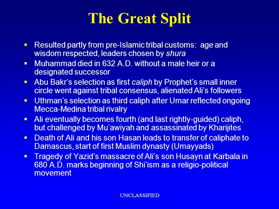 UNCLASSIFIED The Great Split Resulted partly from pre-Islamic tribal customs: age and wisdom respected, leaders chosen by shura Muhammad died in 632 A.D.