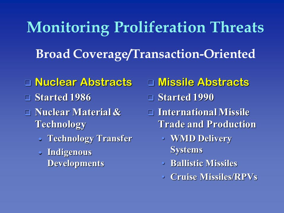Monitoring Proliferation Threats Broad Coverage/Transaction-Oriented q Nuclear Abstracts q Started 1986 Nuclear Material & Technology Nuclear Material