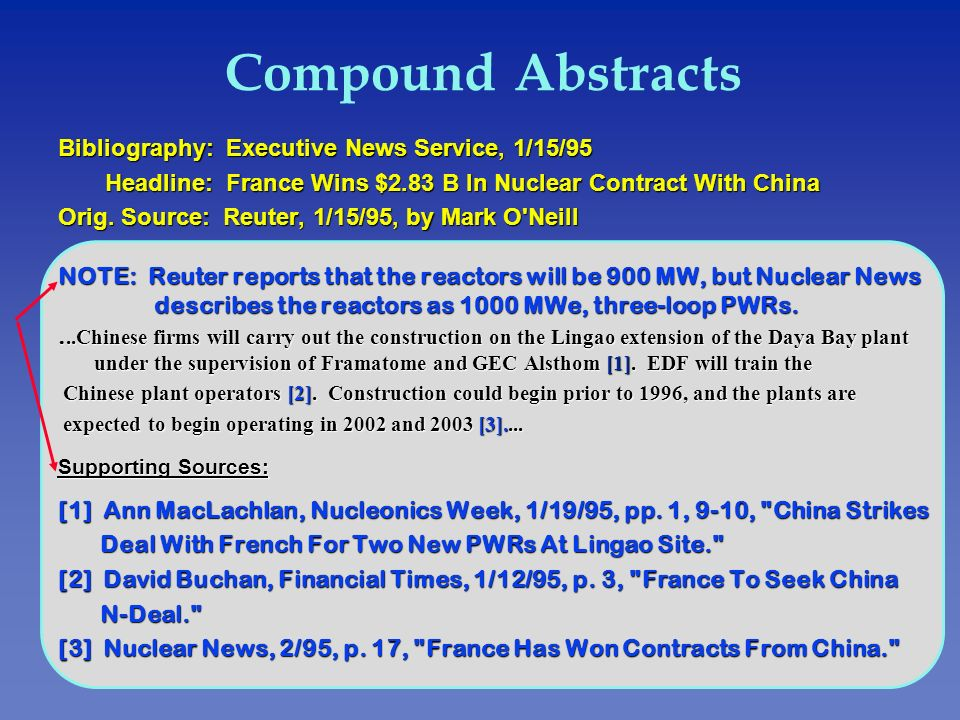 Compound Abstracts Bibliography: Executive News Service, 1/15/95 Headline: France Wins $2.83 B ln Nuclear Contract With China Headline: France Wins $2