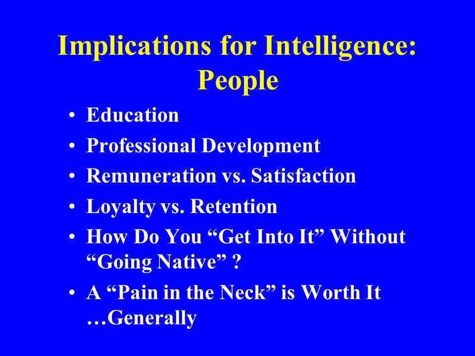 Implications for Intelligence: People Education Professional Development Remuneration vs. Satisfaction Loyalty vs. Retention How Do You Get Into It Wi