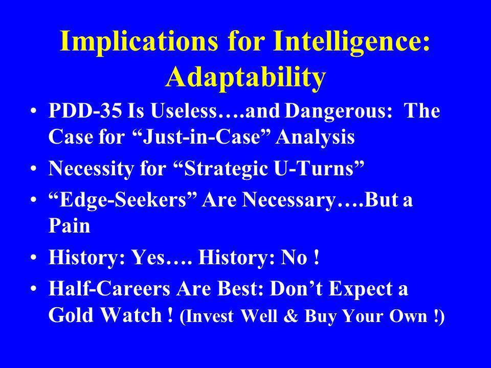 Implications for Intelligence: Adaptability PDD-35 Is Useless….and Dangerous: The Case for Just-in-Case Analysis Necessity for Strategic U-Turns Edge-