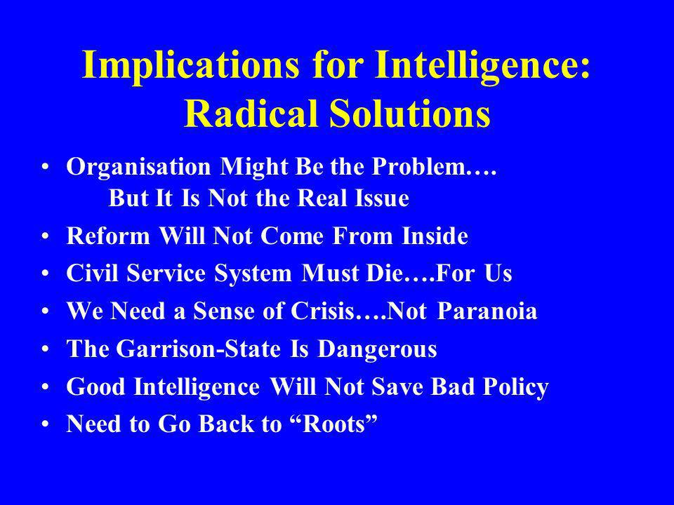 Implications for Intelligence: Radical Solutions Organisation Might Be the Problem…. But It Is Not the Real Issue Reform Will Not Come From Inside Civ