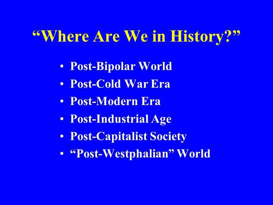 Where Are We in History? Post-Bipolar World Post-Cold War Era Post-Modern Era Post-Industrial Age Post-Capitalist Society Post-Westphalian World